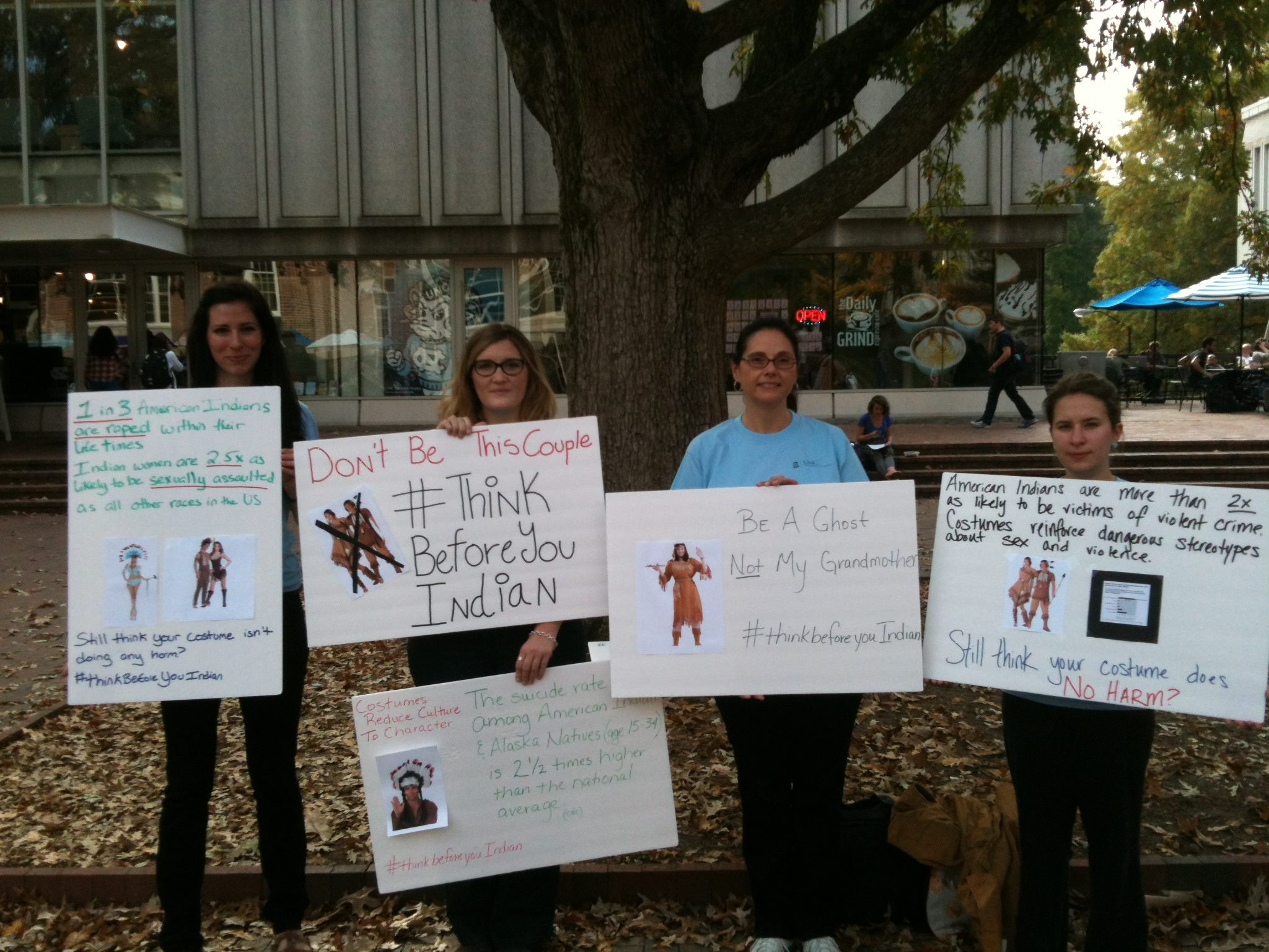Doctoral Students Mattea Sanders and Meredith McCoy raise awareness in the Pit, Fall 2014